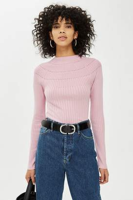 Topshop Yoke Ribbed Knitted Top