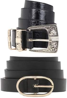 boohoo Oval Buckle Skinny Belt