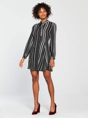 Very Spot and Stripe Shirt Dress - Monochrome