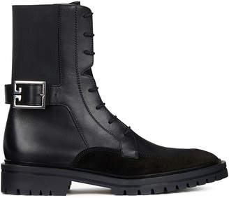 Givenchy Leather & Suede Aviator Lace Up Ankle Boots in Black | FWRD