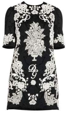 Dolce & Gabbana Dolce& Gabbana Dolce& Gabbana Women's Textured Floral Embroidery Mini Dress - Black White - Size 40 (4)