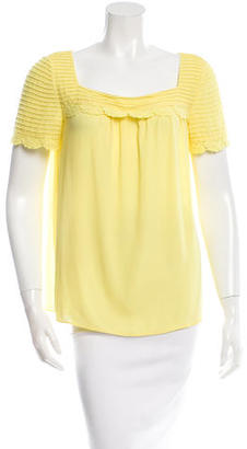 Alice by Temperley Lace-Trimmed Short Sleeve Top $75 thestylecure.com