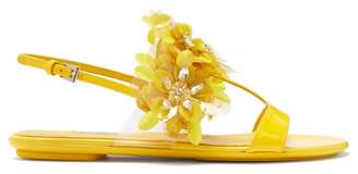 Prada Sequinned Leather Slingback Sandals - Womens - Yellow