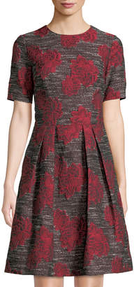 David Meister Floral-Jacquard Tweed A-Line Dress