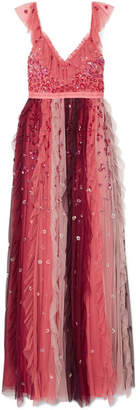 Needle & Thread Rainbow Embellished Tulle Midi Gown - Burgundy