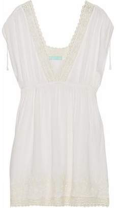 Melissa Odabash Lace-Trimmed Embroidered Voile Coverup
