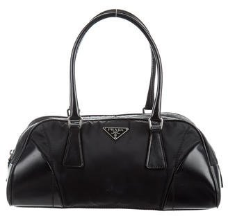 prada Prada Patent Leather-Trimmed Tessuto Shoulder Bag
