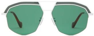 Loewe Geometric Aviator Sunglasses - Womens - White