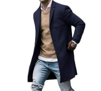 Canrulo Men Trench Coat Wool Slim Fit Notched Collar Overcoat Single Breasted Long Pea Coat Jacket (XXL, )