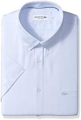 Lacoste Men's Short Sleeve with Pocket Mini Pique Regular Fit Woven Shirt, Ch9612