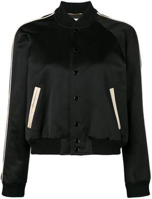 Saint Laurent embellished back cropped bomber jacket