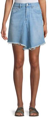 Acynetic Marilyn Levy A-Line Denim Skirt w/ Asymmetric Frayed Hem