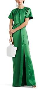 Cédric Charlier Women's Satin High-Slit Gown - Green