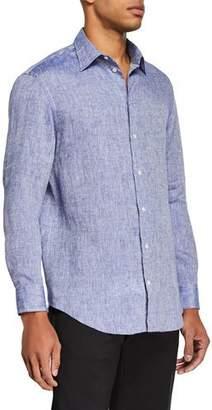 Emporio Armani Men's Linen Sport Shirt, Medium Blue