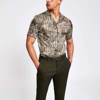 River Island Mens Brown animal print short sleeve shirt