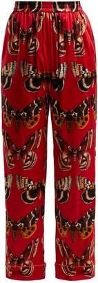 Dolce & Gabbana Butterfly-print silk-blend trousers