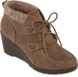 ST. JOHN'S BAY Womens Uptown Lace Up Boots Wedge Heel