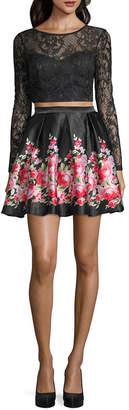 HAUTE NITES Haute Nites Long Sleeve Party Dress-Juniors
