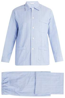 Derek Rose Classic Fit Brushed Cotton Pyjama Set - Mens - Blue