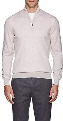 Barneys New York Men's Mélange Wool Quarter-Zip Sweater - Beige, Tan