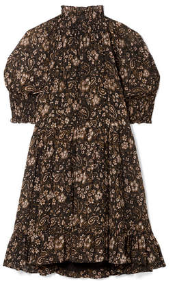Ulla Johnson Josie Smocked Floral-print Silk-georgette Mini Dress - Black