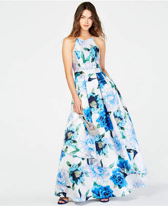 db076436d8f Speechless Juniors  Printed-Floral Halter Gown