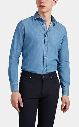 Bolzonella 1934 Men's Cotton Chambray Snap-Front Shirt - Md. Blue