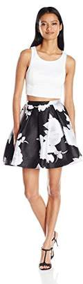 My Michelle Sequin Hearts by Junior's Two Piece Short Prom Dress with Printed Floral Skirt