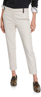 Brunello Cucinelli Stretch-Cotton Monili-Beaded Pants