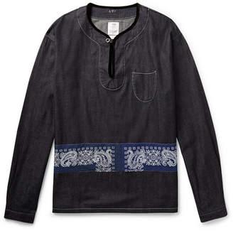 Visvim Velvet-Trimmed Panelled Denim Shirt