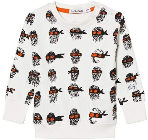 Indikidual White Finger Print Sweater