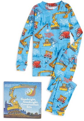 Boy's Books To Bed Goodnight Construction Site Fitted Two-Piece Pajamas & Book Set $50 thestylecure.com