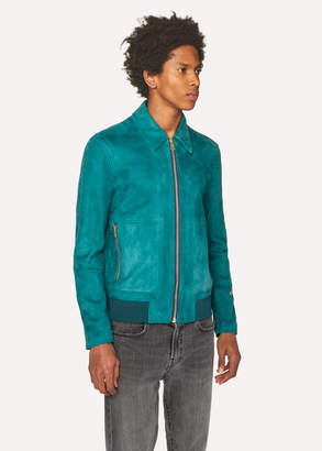 Paul Smith Men's Teal Suede Bomber Jacket