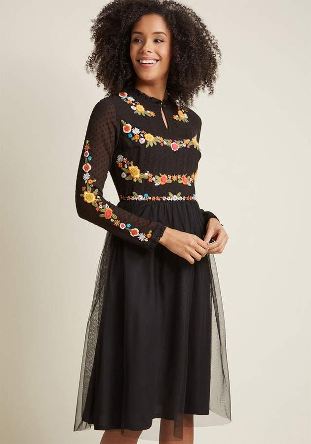Folklore Embroidered Long Sleeve Dress in S - A-line Midi by ModCloth