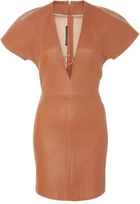 Zeynep Arçay V-Neck Stretch Leather Dress