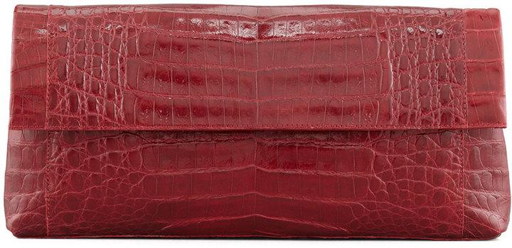 Nancy Gonzalez Soft Flap Crocodile Clutch Bag, Red