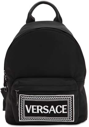 Versace Embroidered Logo Patch Backpack