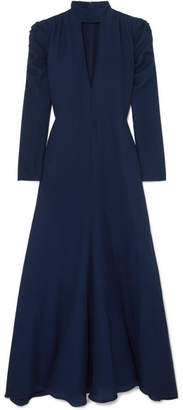 Chloé Ruched Cutout Silk-blend Crepe Gown - Blue