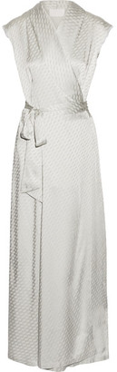 Maison Margiela - Satin-jacquard Wrap Maxi Dress - Silver $1,885 thestylecure.com