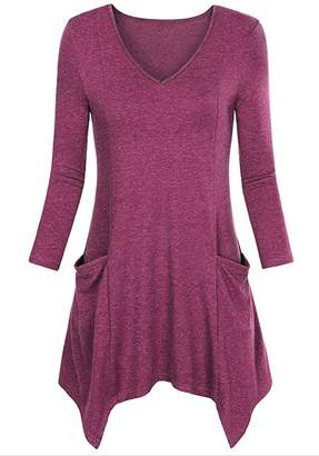 Milis Womens Long Sleeve V Neck Flattering Comfy Tunic Loose Fit Flowy Top (XL, )