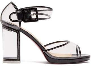 Christian Louboutin Barbaclara 100 Patent Leather And Pvc Sandals - Womens - Black