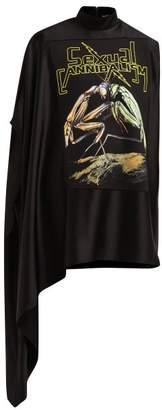 Christopher Kane Praying Mantis Print Satin Mini Dress - Womens - Black Multi