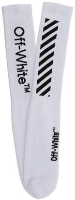 Off-White Off White Diagonal Ribbed Knit Socks - Mens - White