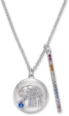 """Danori Silver-Tone Elephant Pave Disc & Horizontal Bar Pendant Necklace, 16"""" + 2"""" extender, Created for Macy's"""