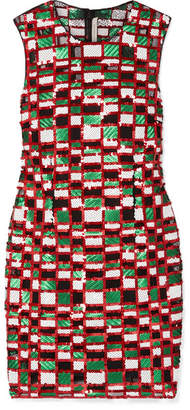 Christopher Kane Checked Sequined Tulle Mini Dress - Red