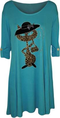 RIDDLED WITH STYLE Womens Cat Leopard Animal Print Short Sleeve Diamante Flared Ladies Baggy Top#( Cat Animal Print Diamante Top#US 10-12#Womens)