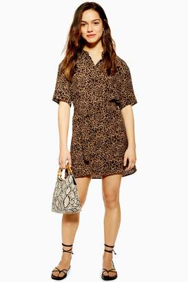 Topshop PETITE Animal Shirt Dress