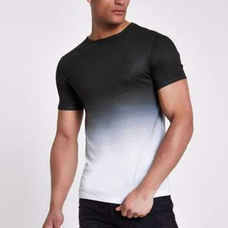 River Island Black 'ninety-eight' fade muscle fit T-shirt