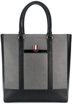 Thom Browne Color-Blocked Leather Tote Bag