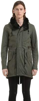 Giorgio Brato Long Hooded Leather Parka W/ Fur Lining